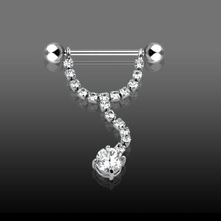Clear Gem Line Solitaire Dangle Nipple Shield Ring Bar Barbell 14 gauge (631)