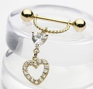 14k Yellow Gold Heart Dangle CZ Nipple Shield Ring Bar Barbell 14 gauge (402)