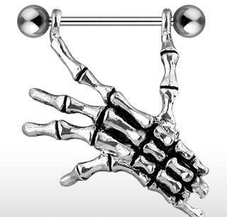 Skeleton Hand Gothic Nipple Ring Shield Bar Barbell Skull 14 gauge (756)