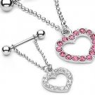 Clear Gem Pave' Heart Nipple Ring Shield Bar Barbell (6117)