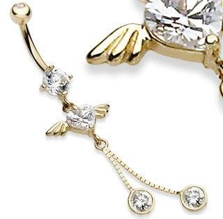 14k Yellow Gold Heart CZ with Wings & Dangles Belly Button Navel Ring Bar 14 gauge (1316)