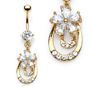 Flower & Double Doorknocker Gold Plated CZ Belly Button Navel Ring Bar 14 gauge (6705)