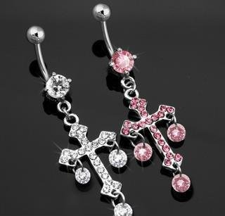 Floating CZ Pave' Cross Belly Button Navel Ring Bar Clear 14 gauge (6743)