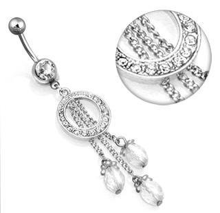 Clear Gem Pave' Circle 3 Bead Dangle Belly Button Navel Ring Bar 14 gauge (0009)