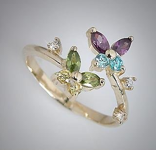 10k Yellow Gold Multi-color CZ Butterfly Adjustable Toe Pinky Ring Toering (606)