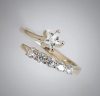 10k Yellow Gold Star and Stripe CZ Adjustable Toe Pinky Ring Toering (609)