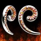 Surgical Steel Spiral Taper Talon with Enamel Flames Earlet Expander 2 gauge (TSP)