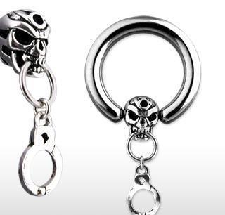 Skull and Handcuff Dangle CBR Captive Bead Nipple Ring Circular Barbell Bar (3774)