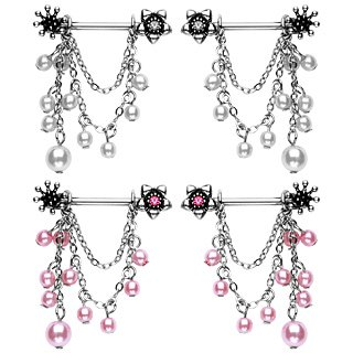 2 Flower & Pink Pearl Dangle Nipple Shields Rings Bars Ring Shield Bar Barbell 14 gauge (0024)