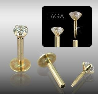 14k Gold Push Monroe Labret 2mm Clear CZ Labrets Monroes Chin Lip Ring 16 gauge (16082)