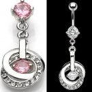 Double Hoop Dangle Belly Button Navel Ring Bar Pink Clear Gem (6339)