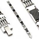 Stainless Steel Black Carbon Fiber Mens Link Bracelet (6626)