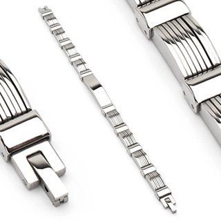 Stainless Steel Mens Link Bracelet Polished Center Link (6639)