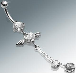 14k White Gold Heart CZ with Wings & Dangles Belly Button Navel Ring Bar (1316)