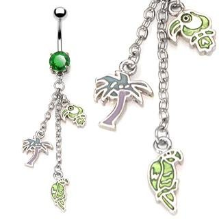Parrot Toucan Palm Tree Dangle Tropical Enamel Belly Button Navel Ring Bar 14 gauge 3/8 (0732)