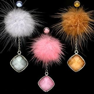 Fur Pendant Dangle Belly Button Navel Ring Bar Light Blue (0222)