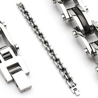 Stainless Steel Black Center Link 8 Inch Mens Bracelet (6601)