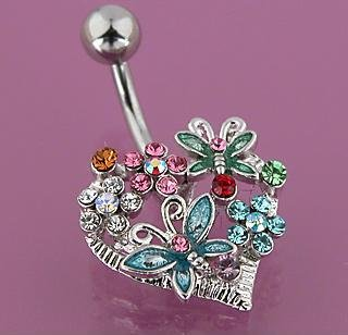 Heart Gem Butterfly Flower Dragonfly Belly Button Navel Ring Bar (4726)