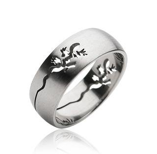 Stainless Steel Mens Lizard Gecko Cut-out Band Ring Size 9 (059)