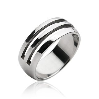 Stainless Steel Linear Cut-out Mens Band Ring Size 9 (034)