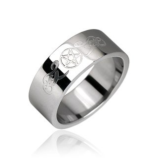 Stainless Steel Mens Band Ring with Gothic Etched Design Size 13 (10095)