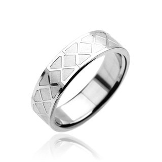Stainless Steel Unisex Diamond Design Etched Band Ring Size 12 (7066)