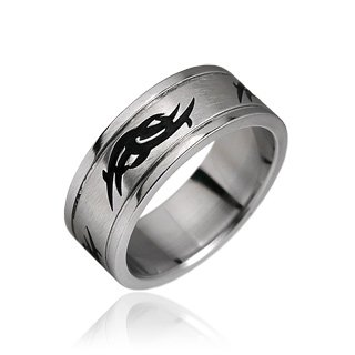 Stainless Steel Mens Tribal Design Band Ring Size 9 (10012)