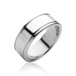 Stainless Steel Mens Polished Band Ring Size 11 (10258)