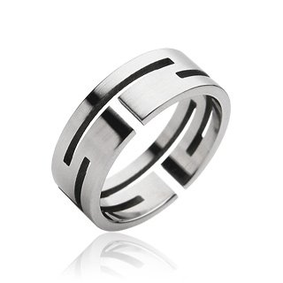 Stainless Steel Mens Cut-out Band Ring Size 12 (010)