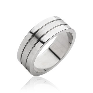Stainless Steel Mens Band Ring Size 10 (061)