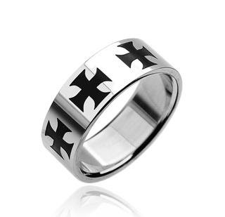 Stainless Steel Mens Black Iron Cross Band Ring Size 12 (7045)