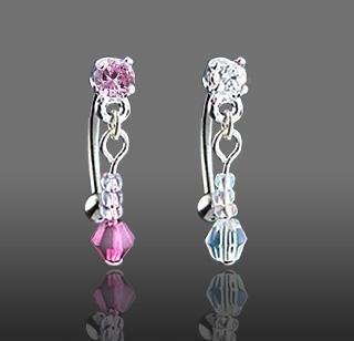 "Reverse Dangle Pink Gem & Bead Eyebrow Curve Ring Bar 16 gauge 3/8"" (325)"