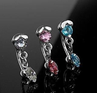 Pink Gem Reverse Dangle Eyebrow Curve Ring Bar with Marquise Dangle 16 Gauge (2068)