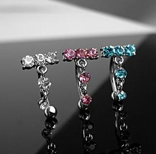 Reverse Dangle 5 Aqua Blue Gem 'T' Eyebrow Curve Ring Bar 16 gauge (2066)