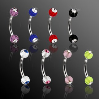 Double Gem Eyebrow Curve Ring Bar 4mm Pink UV with Clear Gem Balls 16 Gauge (CA04-1608)