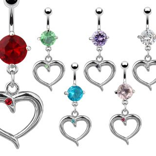 Light Blue CZ Solitaire Heart Dangle with Blue Gem Belly Button Navel Ring 14 gauge 3/8 (2259)