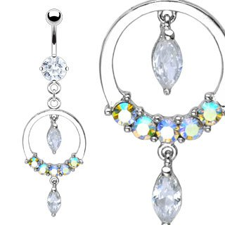 Jeweled Hoop Marquise Dangles Belly Button Navel Ring Bar 14 gauge (6349)