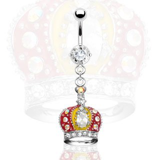 Jewelled Crown Belly Button Navel Ring Bar 14 gauge 3/8 (5193)