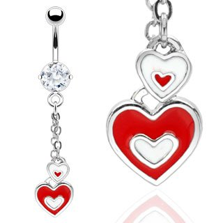 Red White Enamel Heart Dangle Belly Button Navel Ring Bar 14 gauge (0727)