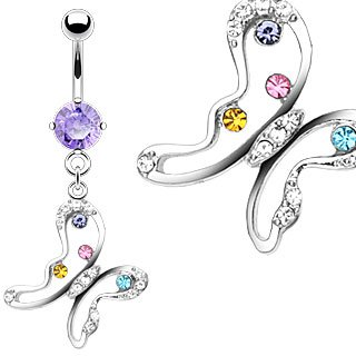 Purple Solitaire with Multicolor Gem Butterfly Dangle Belly Button Navel Ring Bar 14 gauge (4166)