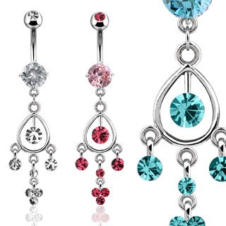 Swarovski Pink Crystal Chandelier Dangle Belly Button Navel Ring Bar with Gem On Top Ball (3718)