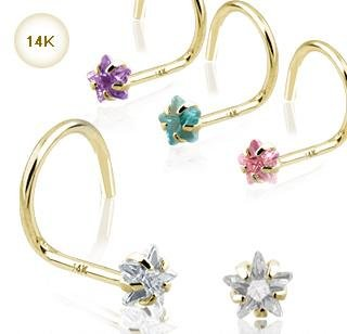 14k Yellow Gold Nose Screw with Pink Star CZ 20 gauge Stud Ring Bone Spiral (GDQ05)