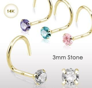14k Yellow Gold Nose Screw Stud with 3mm Pink CZ 20 gauge Ring Bone Spiral (GDQ04)