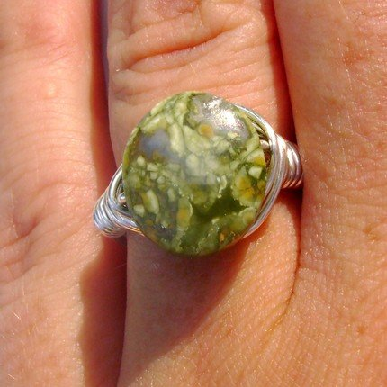 Gorgeous Rain Forest Jasper Wire Wrapped Ring