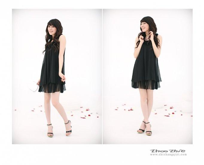 Sleeveless Black Chiffon Layers Dress