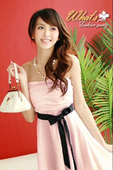 Strapless Pink - Black Bow Chiffon Dress -SOLD OUT-
