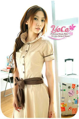Cute Brown Bow Beige Dress Top