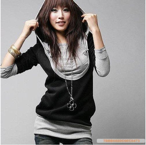 FREE SHIPPING (with coupon)~ Gray and Black Soft Cotton Hoddie Top