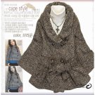 Japan Brown Tweed Strap Cape Style Coat