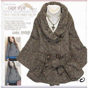 Japan Brown Tweed Strap Cape Style Coat